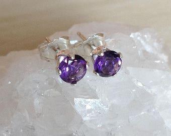 Purple amethyst stud earrings, petite AAA gemstone post earrings, February birthday birthstone, ultra violet sterling silver studs