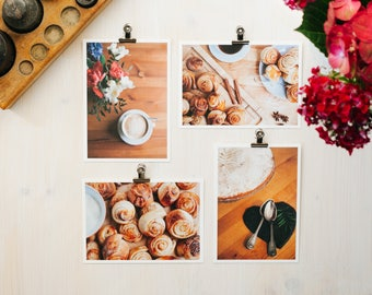 postcard set, postcard, coffee and cake, cinnemon bun, coffee, cake, flowers, icing sugar, sugar, cappuccino, homemade