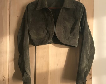 80s olive green corduroy cropped jacket