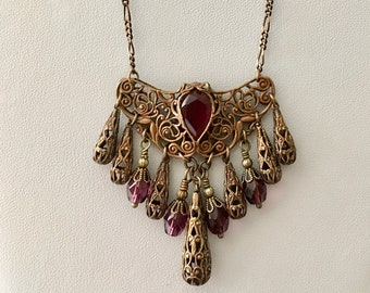 Amethyst  Czech Crystal Openwork Flower Folded Filigree Necklace