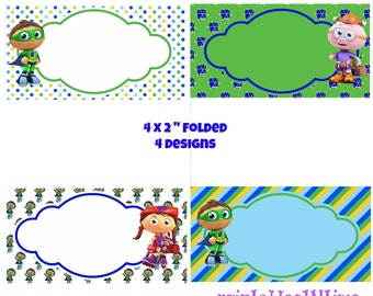 Super WHY labels- tent cards- favor tags - buffet cards - instant download