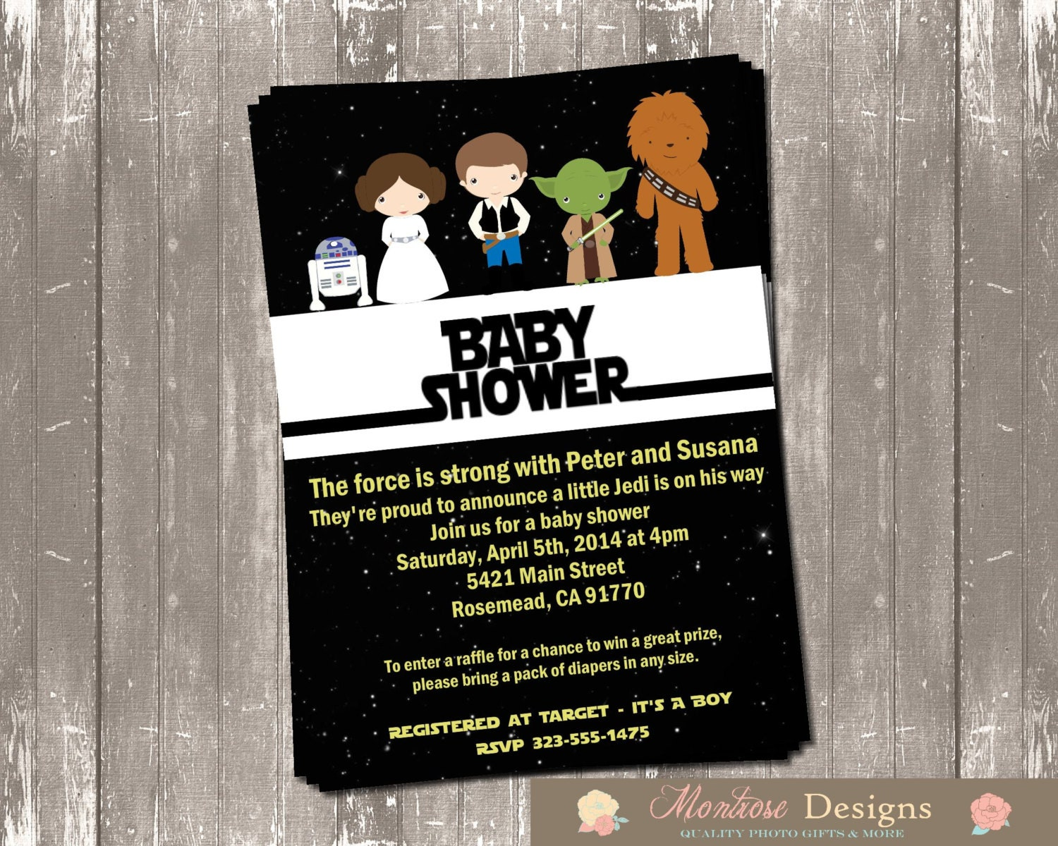 Amazing Star Wars Baby Shower Invitation DIGITAL FILE