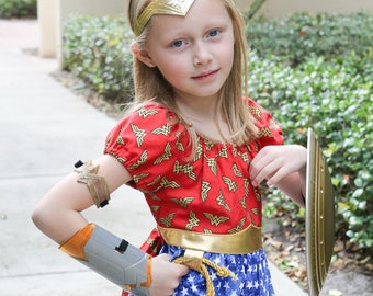 Peasant Dress-Wonder Woman inspired-Princess Series-MADE TO ORDER any size up to size 8-D C Comics-Everyday dress-Superhero
