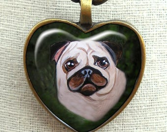 Fawn Pug Necklace ~ Pug Valentine ~ Heart Pendant ~ Original Art Necklace ~ Fawn Pug ~ Sweetheart Gif ~ Pet Keepsake
