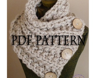 Knitting Pattern THE LANCASTER SCARF Chunky Button Neckwarmer Pattern Knit Infinity Scarf Pattern Knitted Cowl Pattern Knitting Pattern
