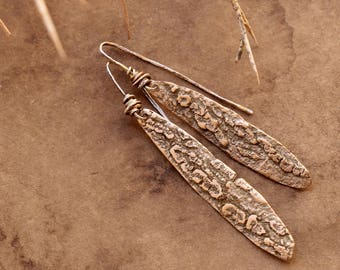 Desert Jewelry Smoke Tree Earrings + Bronze + Artisan + Mojave Desert + OOAK + Organic + Dawn Wilson-Enoch