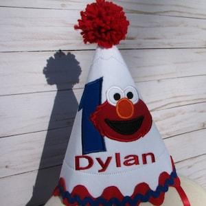 Boys birthday elmo hat, Elmo boys first birthday hat,  smash cake hat,  party hat, boys 1st birthday, 2nd birthday, free personalization
