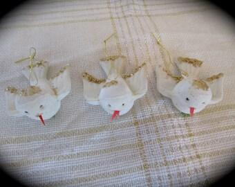 Three Vintage Little Flocked White Bird Ornaments