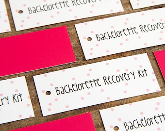 SALE - Bachelorette Party Favors - Recovery Kit Hang Tags - SET OF 10 - Bachelorette Hangover Kit Tags - Bachelorette Party