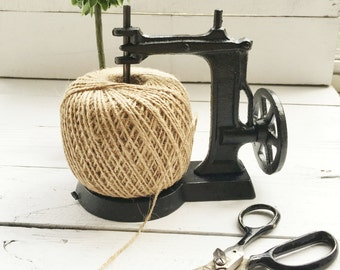Cast Iron Sewing Machine With Twine Spool-Notions-Jute String-Sewing Room-Craft Room-Free Twine Included-Rustic Home Decor-Cabin Accessories