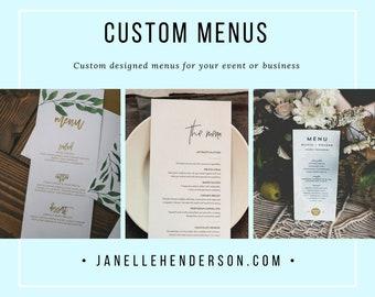 CUSTOM Menu design / Menu design / Food Service Menu / Bar Menu / Wedding Menu / Small Business Menu / Cafe Menu / Restaurant Menu