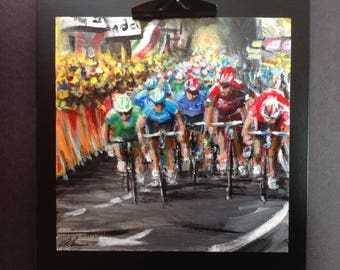 Tour de France Cycling Art Painting - Original Acrylic On Paper - Peloton Race