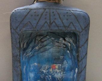 Headless Horseman Halloween Bottle, Hand Painted
