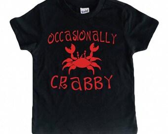 Occasionally Crabby tee for infants, toddlers, children / crab shirt / summer shirt for kids / beach shirt