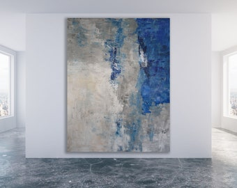 Original Abstract Art / Blue and Grey Abstract Painting / Large Abstract Art / Modern Art / XL Modern Art