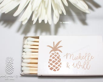 Tropical Pineapple Wedding Favors   White Matchboxes   Hot Stamped Metallic Shiny Foil from Social Graces & Company Party Paper Presents