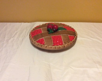 Antique Cherry Primitive Pie Plate Dish Bowl Made in Japan