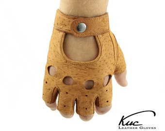 Peccary fingerless leather gloves - driving gloves, incredible soft and durable