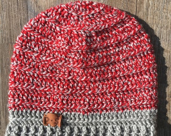 The Laidback Red Slouch   Crochet Slouch Hat   Handmade Hat