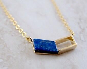 Lapis Chevron Gold Chain Necklace - Minimalist Blue Geometric Stone Pendant