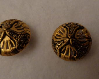 2 Vintage Antiqued Metal Buttons