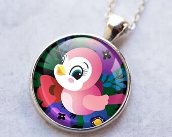 Valentine Pendant, Valentine Bird Necklace, Woodland Art Jewelry, Valentine Necklace, Love Art Pendant, Bronze, Silver, Love Bird Art