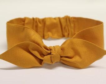 "Mustard Knot headband, Womens Headband, Adult Headband, Headband for Women, Girl Headband, Bow Headband, Girl, Women, Headband, ""Mystique"""""