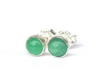 Chrysoprase Stud Earrings 5mm .. Green Chrysoprase Earrings .. Small Stud Earrings .. Handmade Jewelry