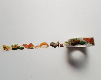 Sushi washi tape, Sushi tape, Washi tape, Planner supplies, Paper tape, Food washi tape, Food, Japanese, Sushi, Sushi lover gift, Kawaii