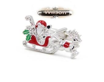 Custom Engraved Christmas Cufflinks,Holidays Party Cufflinks,Personalized name cufflinks