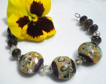 Murano Glass Beaded Bracelet Floral Murano Beads Mocca Swarovski Crystals Lt Golden Crystals OOAK