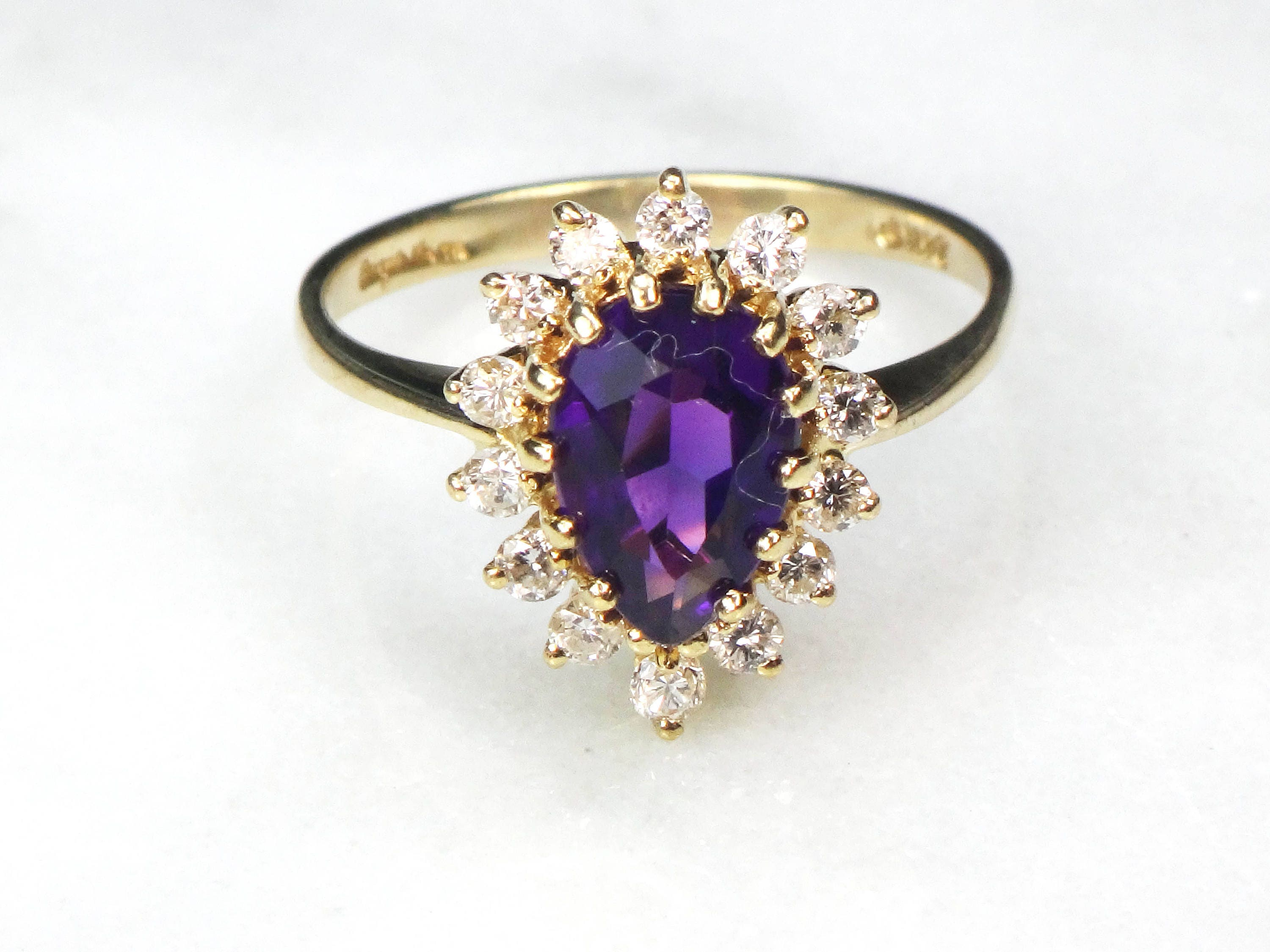 zirconia purple products cubic round amethist diamond rings rhodium cz carat cut cicelia engagement silver ring cocktail amethyst faux