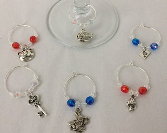 Alice In Wonderland Themed Wine Glass Charms (set of 6)