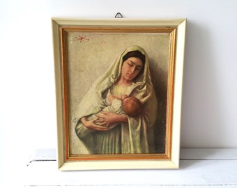 Old religious picture frame 'Madonna and child'