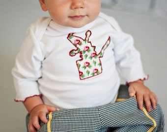Baby Boy Pants set, Toddler 2 piece clothing, Tshirt applique of Jack in the Box, long sleeve T shirt, aqua vintage fabric applique