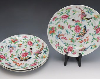 Mid 19th Century Chinese Porcelain Bird & Butterfly Plates