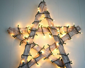 Hand Made Rustic Wooden Star with Christmas Lights