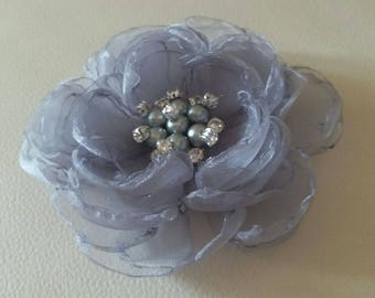 Singed Flower Organza Flower With Pearl and Rhinestone (4 inches) In Lt Gray MY-346 Ready To Ship