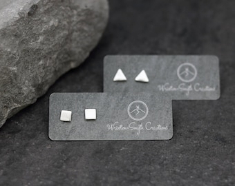 Cute Triangle / Square Stud Earrings - minimalist  - geometric - Silver Studs - Simple Studs