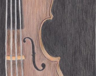 Original Colored Pencil Violin Drawing Digital Download