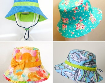 ULTIMATE BUCKET HAT Pattern! Newborn to Adult. Brims; short, long, adjustable, ruffle, bonnet, scrubs with extras! A must have for all