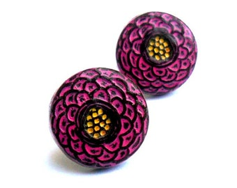 Pink Flower Stud Earrings, Magenta and Yellow Flower Post Earrings, Flower Jewelry, Birthday Gift, Gift for Wife, Gift for Girlfriend
