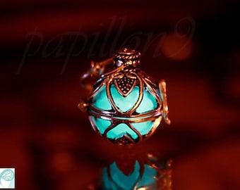 Locket  Glow in the Dark / Locket silver / GLOW in the DARK / Glass bubble pendant / Locket /