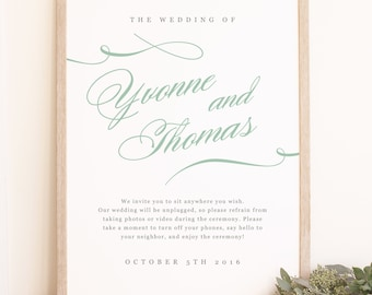 Welcome Sign Template, Printable Welcome Sign, Printable Wedding Sign, Aqua Type, Mac or PC, 100% Editable, Any Color, INSTANT DOWNLOAD