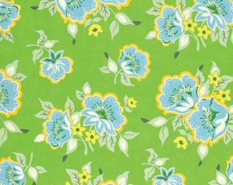 Sale Free Spirit Heather Bailey -NICEY JANE-CHURCH Flowers-Green  1 Yard Cut
