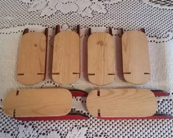 6 unfinished mini wooden sleds