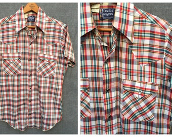 60's Dee Cee Rangers Plaid Pearl Snap Short Sleeve Shirt // Men's Size S 14 - 14 1/2 Neck