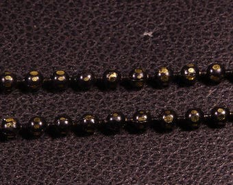 5 m chain brass faceted ball black/gold 1.5 mm