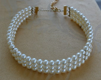 """White Faux Pearl Triple Strand Collar Necklace, Adjustable, Vintage, 15""""-17-1/2"""""""