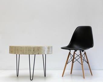 Stump Tree Slice Side Table White Glaze with Minimalist Steel Hairpin Legs Coffee Furniture